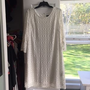 White crochet dress with built in slip.